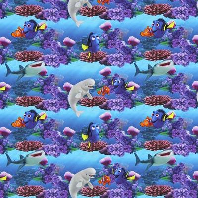 Tela de jersey Buscando a Nemo – azul