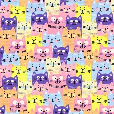 Katoenjersey kattenclub 1 – roze