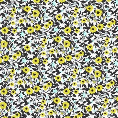 Popeline bloemenranken 2 – donkerbruin