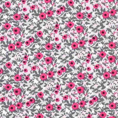 Popeline bloemenranken 4 – hard roze