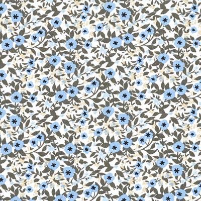 Popeline bloemenranken 3 – lichtblauw