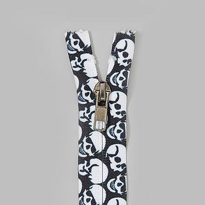 Skull zipper - black/white