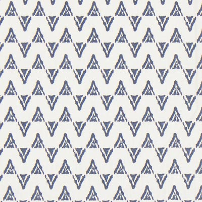 Cretona Ikat Kad – blanco lana/azul