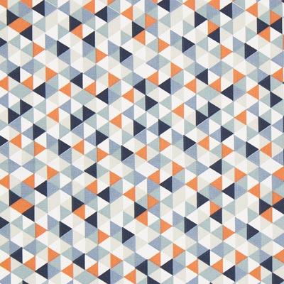 Cretonne Driehoeken Trimix 3 – blauw