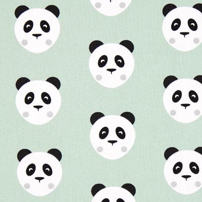Cretonne Maotey Panda – mintgroen