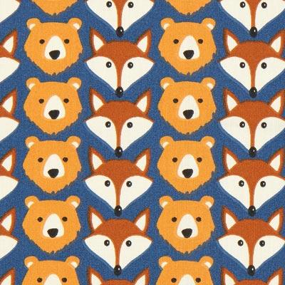 Bear and Fox Ruse Cretonne – blue