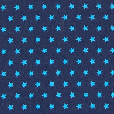 Katoenen stof Sterren - marineblauw