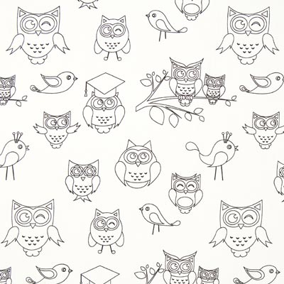 Colouring Fabric Owl Poplin – white