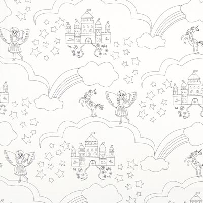 Colouring Fabric Dream Castle Poplin – white