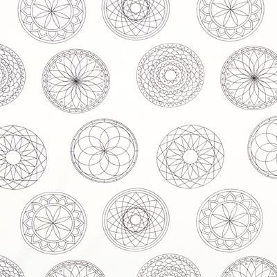 Colouring Fabric Mandala Poplin – white