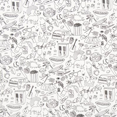Colouring Fabric Hidden Object Poplin – white