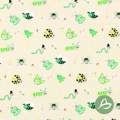 Tula Insecten biologische katoen GOTS, beige/groen
