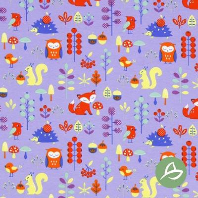 Tula Retro Fox Biologische Jersey GOTS – lila