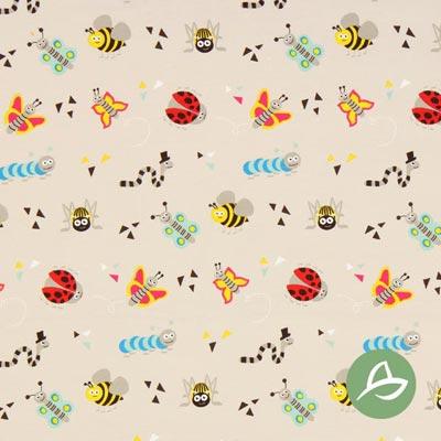 Tula Insecten Biologische Jersey GOTS – beige/pink
