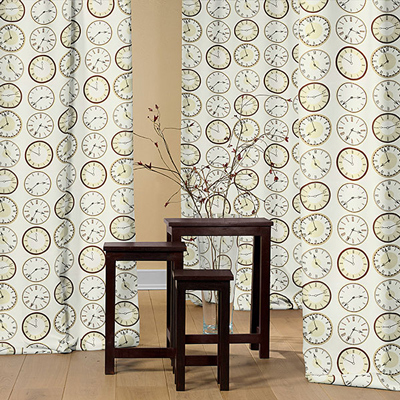 Tic, Tac: Tecidos decorativos limitados com motivos de relógios