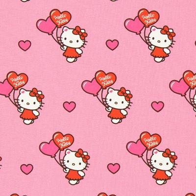 Katoenen stof Hello Kitty hart – roze