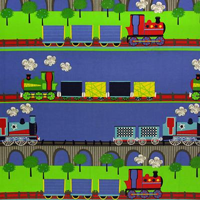Tissus enfants avec voitures et chemins de fer