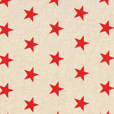 Red Stars Christmas Fabric – beige