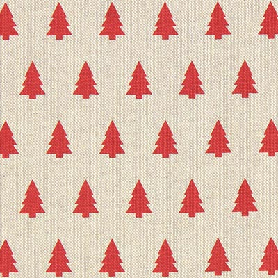 Red Trees Christmas Fabric – beige