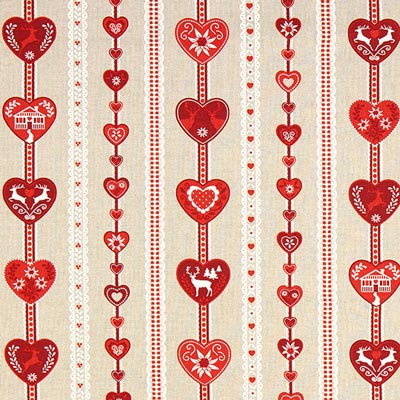 Red Heart Print Christmas Fabric – beige