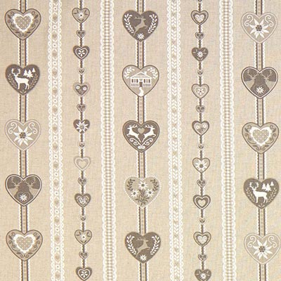 Grey Heart Print Christmas Fabric – beige