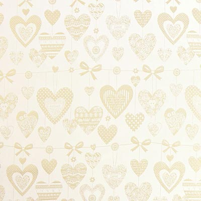 Golden Hearts Christmas Fabric – off-white