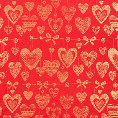 Golden Hearts Christmas Fabric – red