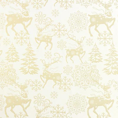 Golden Reindeers Christmas Fabric – off-white