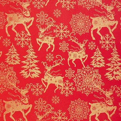 Tela navideña renos dorados – rojo