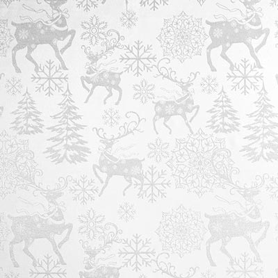 Silver Reindeers Christmas Fabric – white