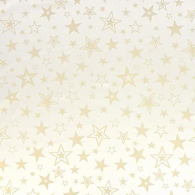 Tela navideña estrellas doradas – blanco lana