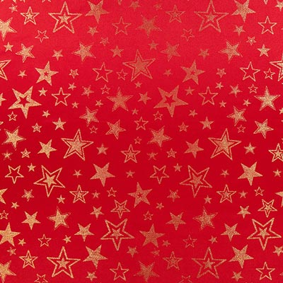Golden Stars Christmas Fabric – red