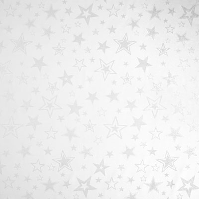 Silver Stars Christmas Fabric – white