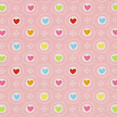 Furnishing Fabric Colourful Hearts