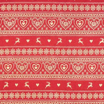 Tela navideña patrón de corazón – crema