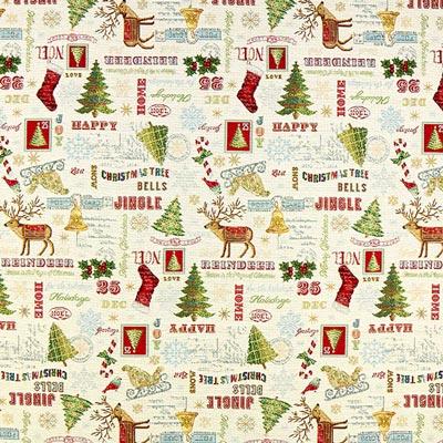 Weihnachtsstoff Santa – hellbeige