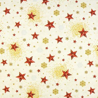 Tela navideña estrellas – blanco lana