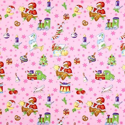 Katoenen stof kerstteddy – roze