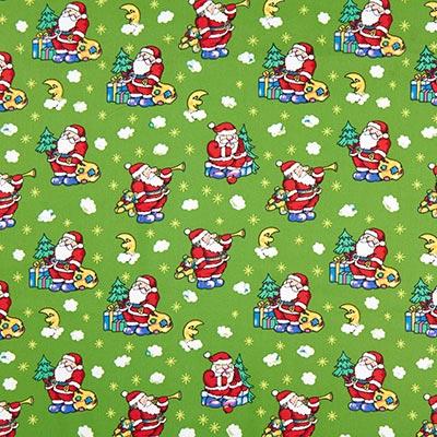 Katoenen stof Kerstman sterrenhemel – groen