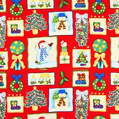 Katoenen stof kerst sneeuwpop – rood