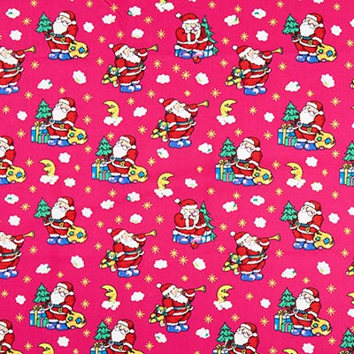 Katoenen stof Kerstman sterrenhemel – pink