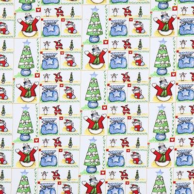 Katoenen stof kerst vreugdedans – lichtgrijs