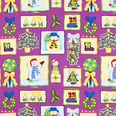Katoenen stof kerst sneeuwpop – lila