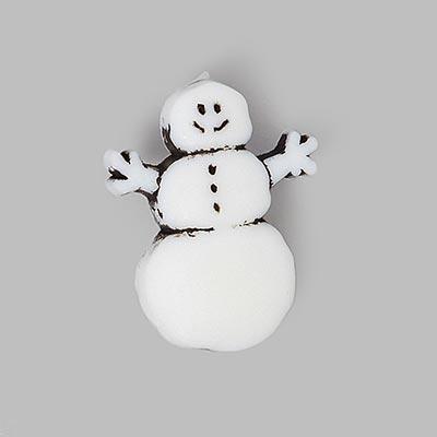 Snowman Christmas Button - white