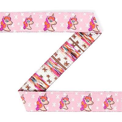 Jacquardboord eenhoorn 2 – roze