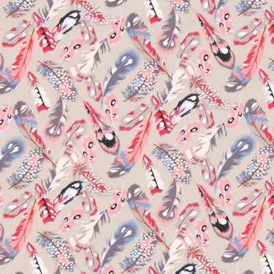 Jersey Portofino Feathers – beige/rosa | Gütermann