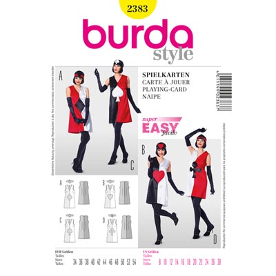 Spielkarten Kleid | Stirnband, Burda 2383 | 34 - 54