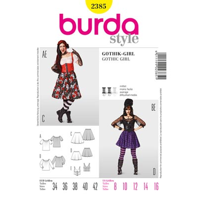 Gothik-Girl, Burda 2385 | 34 - 42