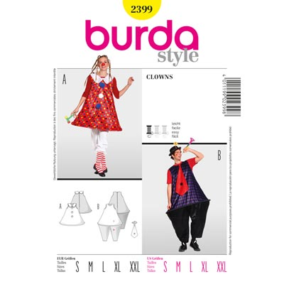 Clown-Partnerkostüm, Burda 2399 | 44 - 60 | 36 - 54