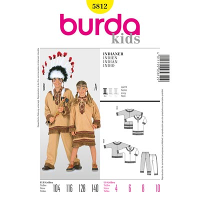 Indianer Kombination, Burda 5812 | 104 - 140